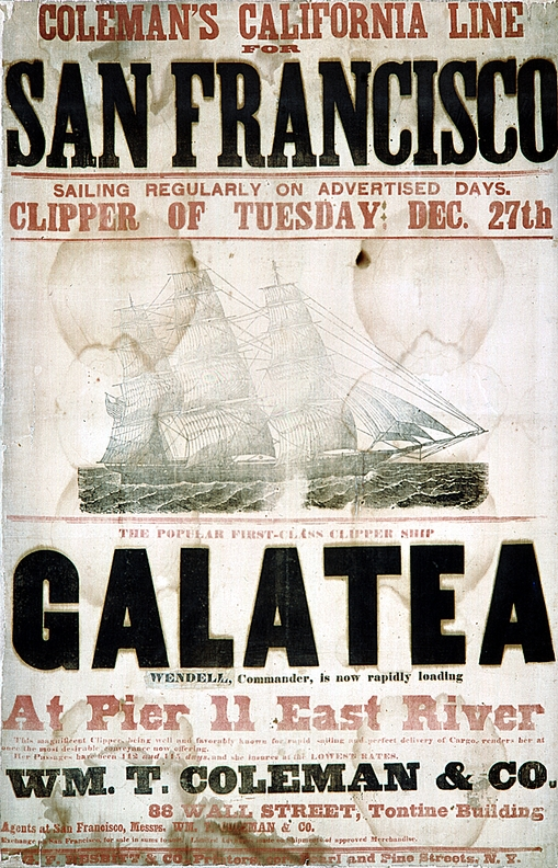 Advertising poster for the ship Galatea