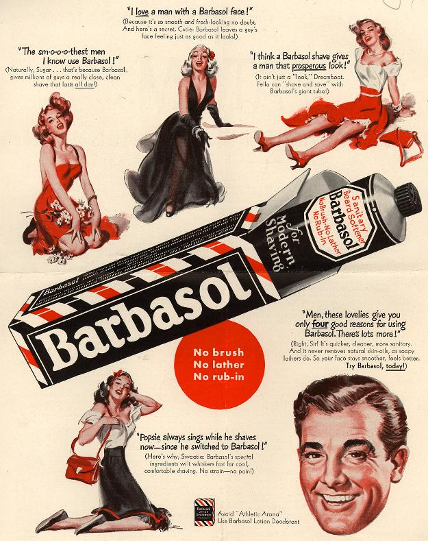 Barbasol. No brush. No lather. No rub-in advertising