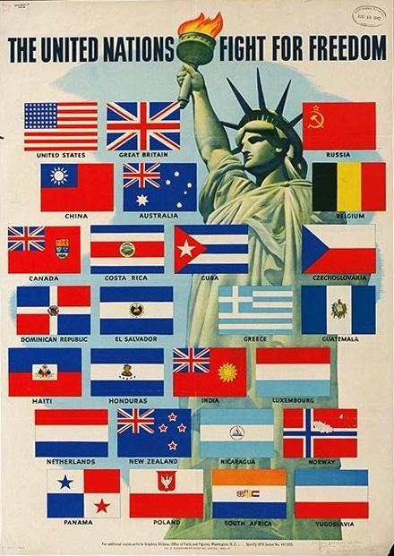 The United Nations fight for freedom. Free freedom fight poster