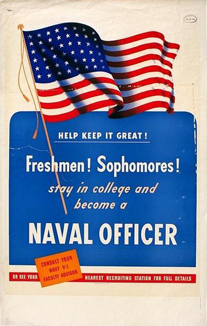 stay in college and become a naval officer. Free public domain navy poster
